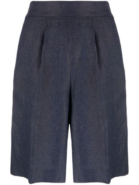 Синие с завышенной талией шорты с карманами Peserico
