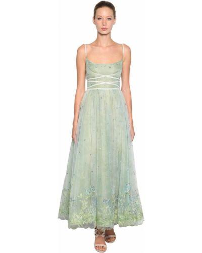 Зеленое платье с вышивкой из фатина Luisa Beccaria