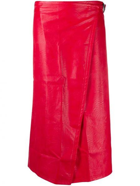 Красная кожаная юбка миди с запахом Simon Miller