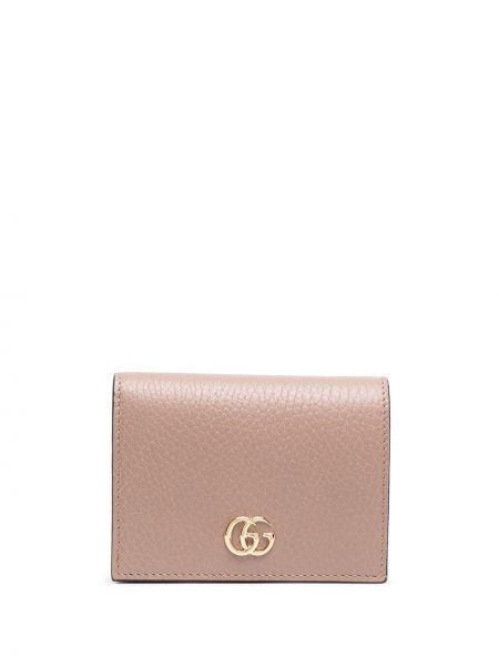 Skórzany portfel z kieszeniami z gniazdem złoto Gucci