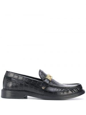 Czarny loafers od krokodyla okrągły nos okrągły Moschino