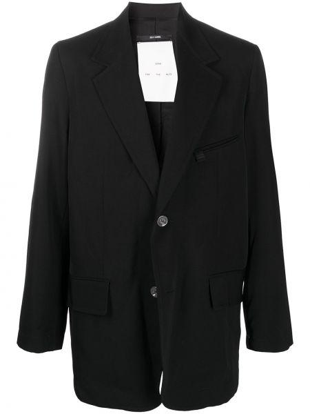 Czarna długa kurtka wełniana z długimi rękawami Song For The Mute