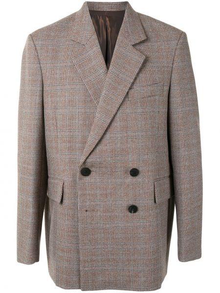 Коричневый пиджак с карманами на пуговицах с лацканами Wooyoungmi