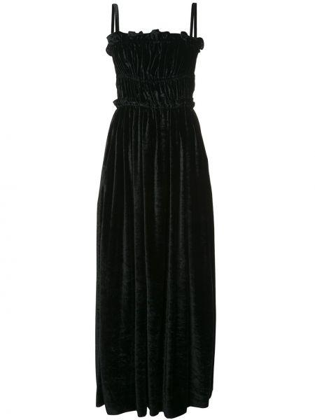 Черное платье со складками на бретелях с оборками Alexa Chung