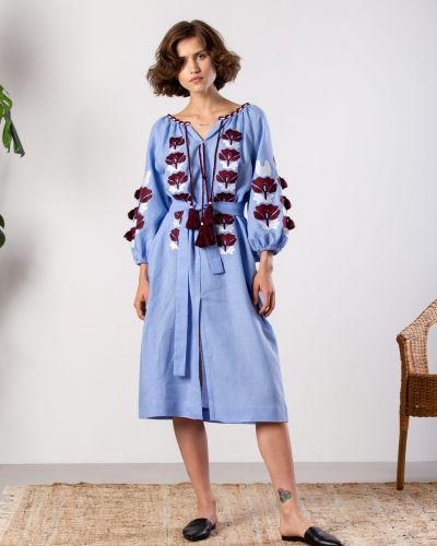 Этническое синее платье оверсайз Etnodim