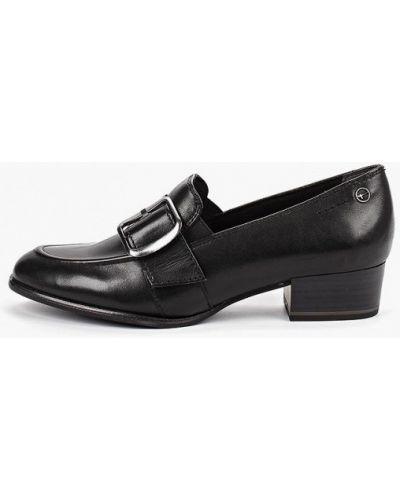 Туфли на каблуке черные кожаные Tamaris