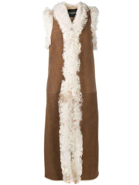 Коричневое кожаное пальто без рукавов Simonetta Ravizza