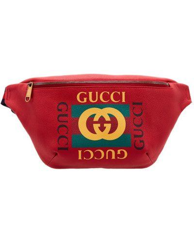 Поясная сумка кожаная на молнии Gucci Man