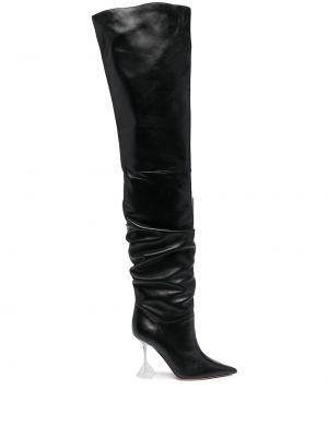 Кожаные ботфорты на каблуке на высоком каблуке Amina Muaddi