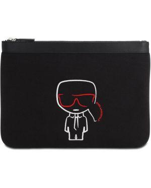 Кожаная сумка из канваса на молнии Karl Lagerfeld