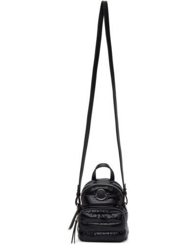 Стеганый черный кожаный рюкзак Moncler