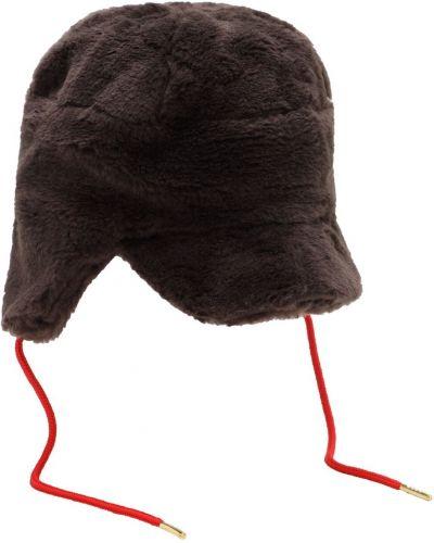 Brązowy z paskiem kapelusz sztuczne futro Mini Rodini