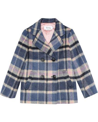 Niebieski bawełna wełniany płaszcz Bonpoint