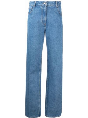 Синие прямые джинсы с завышенной талией на молнии Nina Ricci