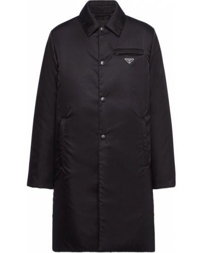 Z rękawami czarny płaszcz przeciwdeszczowy z kieszeniami z kołnierzem Prada