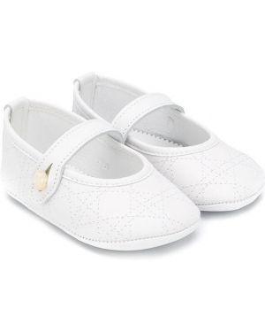 Białe półbuty skorzane płaska podeszwa Baby Dior