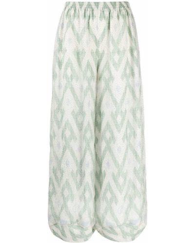 Зеленые шелковые брюки свободного кроя Giorgio Armani