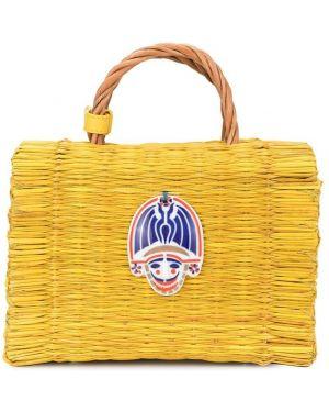 Желтая соломенная сумка-тоут круглая Heimat Atlantica