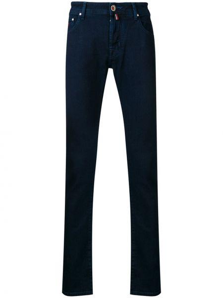 Темно-синие джинсы-скинни из микрофибры узкого кроя Jacob Cohen