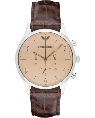 Часы водонепроницаемые с кожаным ремешком коричневый Emporio Armani
