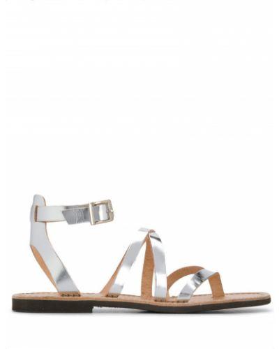 Серебряные сандалии с пряжкой на каблуке P.a.r.o.s.h.