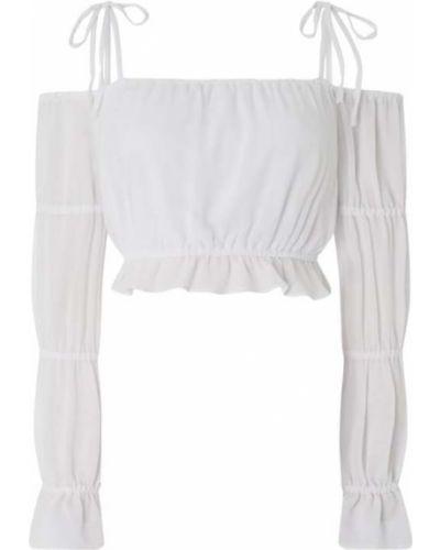 Biała bluzka z odkrytymi ramionami z falbanami Na-kd