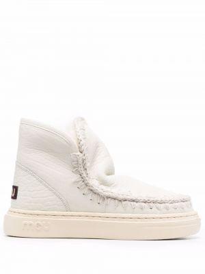 Белые ботинки с круглым носком Mou