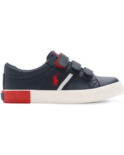Z paskiem niebieski skórzany sneakersy na paskach Ralph Lauren