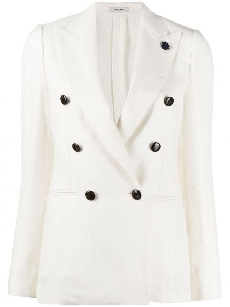 Приталенный белый пиджак двубортный Lardini