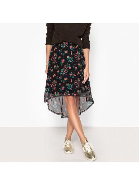 Расклешенная ажурная юбка макси в рубчик с рисунком Berenice