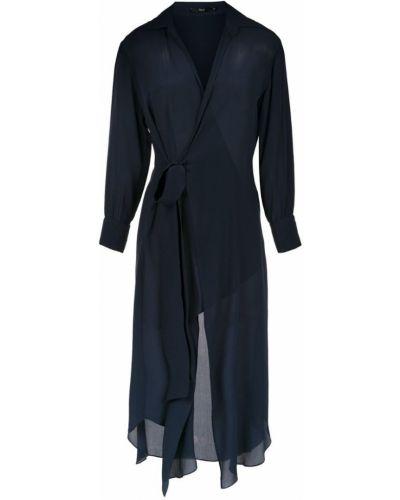 Черное платье миди с запахом на шнуровке Magrella