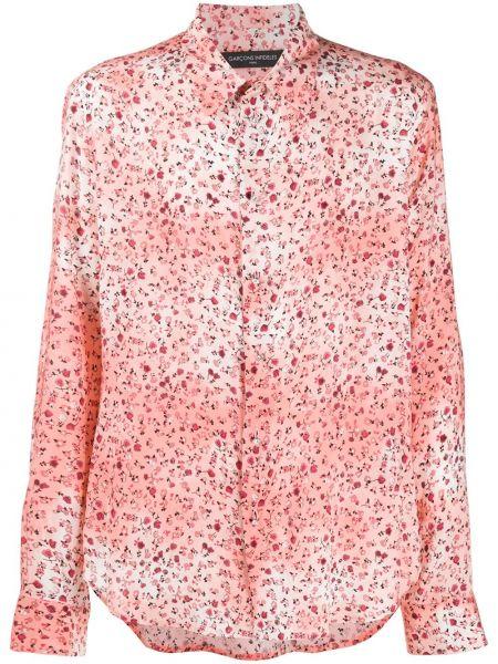 Różowa klasyczna koszula z długimi rękawami z wiskozy Garçons Infideles
