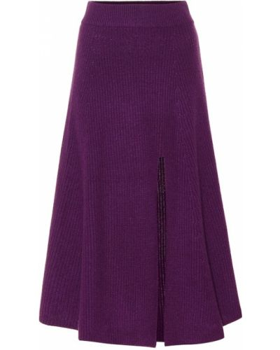Z kaszmiru fioletowa spódnica midi elegancka Altuzarra