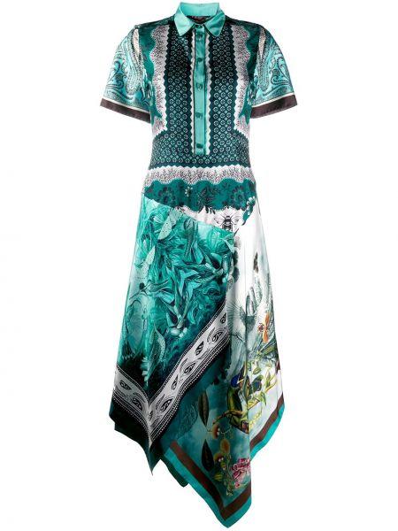 Niebieska sukienka mini asymetryczna z kapturem F.r.s For Restless Sleepers