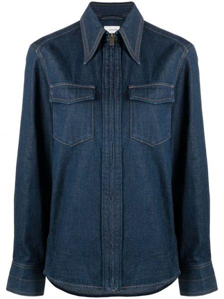 Niebieska koszula jeansowa bawełniana z długimi rękawami Lemaire