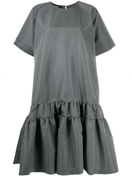 Серое расклешенное платье миди с вырезом с короткими рукавами Rochas