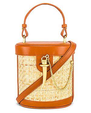 Кожаная сумка через плечо соломенная Sancia