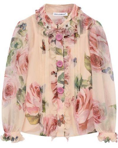 Блузка с длинным рукавом с цветочным принтом с рюшами Dolce & Gabbana
