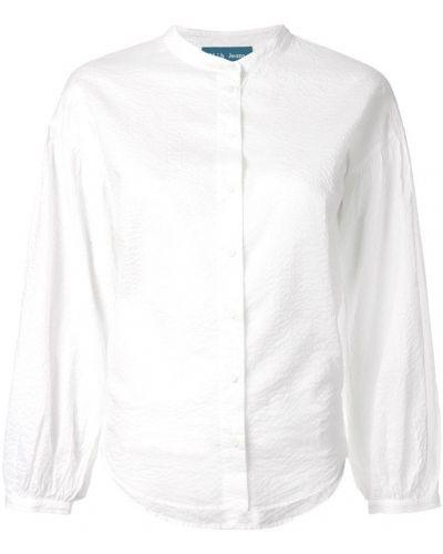 Джинсовая рубашка длинная - белая Mih Jeans