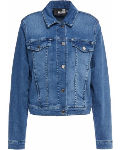 Хлопковая ватная синяя джинсовая куртка Love Moschino