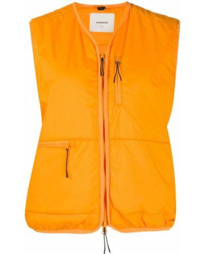 Льняная оранжевая жилетка с карманами без рукавов Soulland