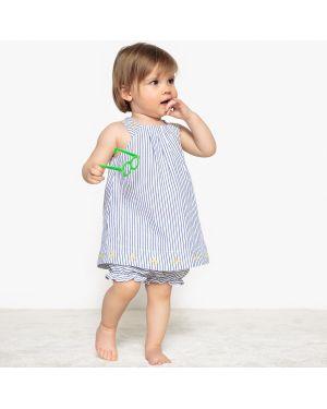 Платье с рукавами хлопковое в полоску La Redoute Collections