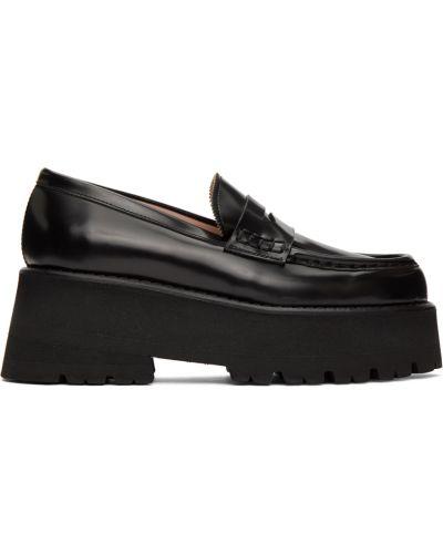 Czarne loafers skorzane na platformie Msgm