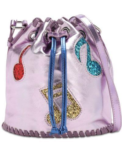 Z paskiem różowy torba z łatami metal Stella Mccartney Kids
