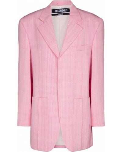 Розовый пиджак из вискозы с опушкой Jacquemus