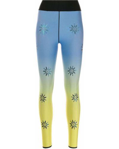 Niebieskie legginsy z nylonu w kwiaty Ultracor