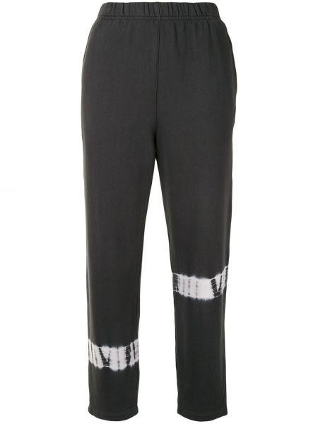 Хлопковые серые спортивные брюки с поясом узкого кроя Raquel Allegra