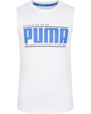 Прямая белая хлопковая спортивная футболка Puma