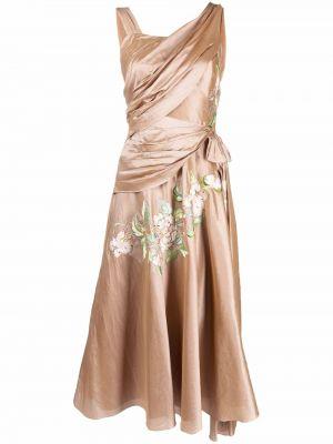 Beżowa sukienka z jedwabiu Christian Dior