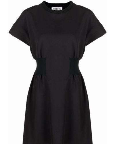Черное платье мини с вырезом с короткими рукавами Iceberg